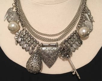 Charm necklace,statement necklace,boho necklace,tribal necklace,warrior necklace,chunky charm necklace-Warrior Queen Statement Necklace
