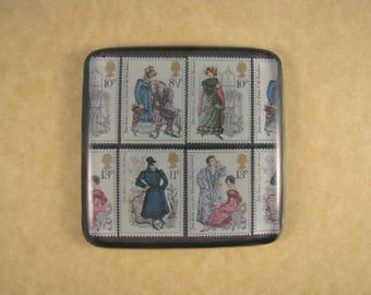 Stamp Paperweight, Austen Paperweight, Jane Austen, Austen Glass Tile, Austen Costume Stamp, Square Glass Tile, Regency Paperweight