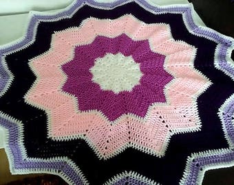 Baby blanket in shades of Pink and Purple Crochet Star blanket