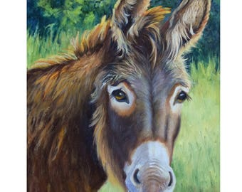 The Neighbor's Donkey, Animal Portrait Painting,16x20 Original Oil On Canvas Painting by Cheri Wollenberg