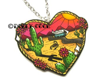 Western Desert Scene Necklace by Dolly Cool 40s 50s Reproduction Vintage Style Novelty Print