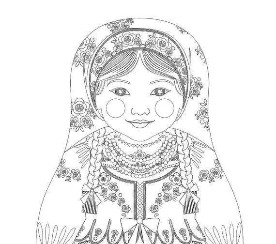 Polish Girl Matryoshka Coloring Sheet Printable File