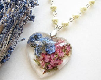 Forget Me Not Necklace Real Flower Jewelry Heart Necklace Resin Necklace Real Flower Necklace Resin Jewelry Heather Necklace Gift for Her