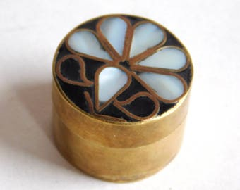 Vintage Brass Pill Box w/ Inlaid Mother-of-Pearl Flower and Black Enamel - Tiny Round Trinket Box w/ Stylized White Shell Floral Design