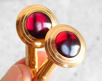 Vintage Swank Mid-Century Modern Gold Filled Cuff Links w/ Red Glass Stone - Round Goldtone setting with Red Cabochon - Modernist 1960s