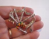 Vintage Figural Colorful Bagpipes Scottish Kilt Pin