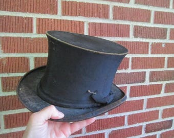 Antique Edwardian Dilapidated Collapsible Black Silk Top Hat Size 21 1/2""