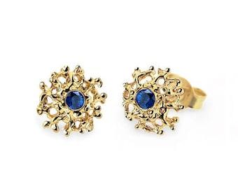 SALE 20% Off - CORAL 14K Gold Earrings Posts Medium, Gold Posts, Gold Sapphire Earrings,  Blue Sapphire Studs Earrings, Gold Stud Earrings