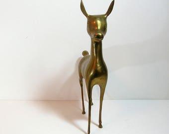Brass Deer Figurine, Large Mid Century Modern Brass Deer