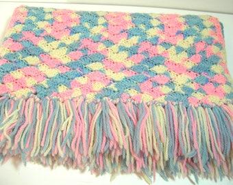 Vintage Pastel Crocheted Baby Afghan, Crocheted Baby Blanket