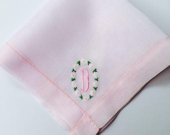 Vintage Pink  Hanky with a Pink Initial D - Handkerchief Hankie