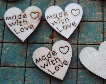 29 wood hearts, small hearts, Made With Love, crafts, scrapbooking, maker
