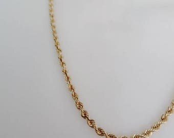 14K Rope Chain Yellow Gold 20 Inches Vintage Estate Fine Jewelry Retro Classic Design