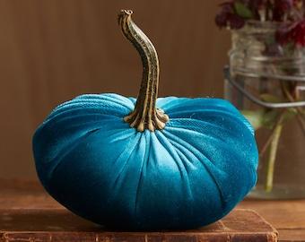 Scented Velvet Pumpkin, TEAL GREEN