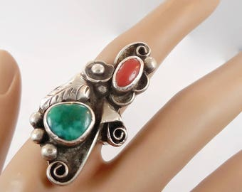 Turquoise Ring, Coral Ring, Sterling Silver, Vintage Ring, Phil Chapo, Signed, Native American, Navajo, Long, Size 7, 1970s, Silver Feather