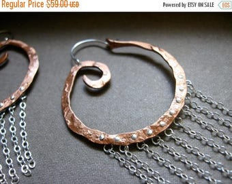 End of Summer SALE Sm Swirl chain fringe in Copper  or Bronze