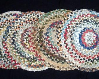 4 Vintage Red & Blue Multi Color Chenille BRAIDED Chair Pads