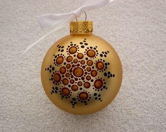 Gold hand painted glass Christmas tree ornament personalize customize bronze black holiday decor last minute gift ideas mandala dot art