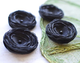 Tiny and Thick- Handmade fabric flowers, organza satin sew on flower appliques, flower embellishments, small silk flowers  (4pcs)- BLACK