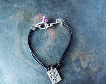 30% OFF CIJ Leather Bracelet, Double Strand, Fine Silver Charms, Ancient Coin, Kanji Symbol, Purple Gemstones, Stacking Bracelet, Artisan Je