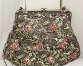 ON SALE Vintage Beaded Evening Jacquard Purse Handbag Bag Clutch