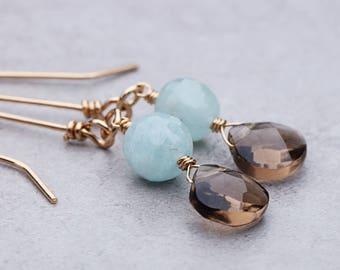 Smokey Quartz Aquamarine Earrings | Gold Earrings | Gemstone Earrings | March Birthstone | March Birthday | Dangle Earrings | Birthday Gift