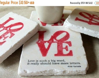 XMASINJULYSale Love Coasters - Love is Such a Big Word - Absorbent Drink Coasters - Engagement - Anniversary - Bridal Shower Gift
