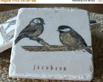 XMASINJULYSale Personalized Chickadee Tile Coasters - Bird Lover Gift - Nature Home Decor