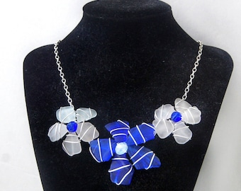 Blue and White Flower Sea Glass Necklace, Beach Glass Statement Necklace
