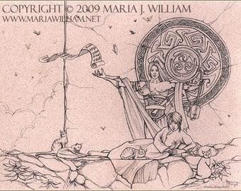 Morning Strings - original ink drawing - MATTED