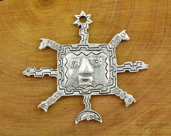 Huge Southwestern jewelry pendant focal point. Sterling Silver plate. 4 inches wide. (SC1)