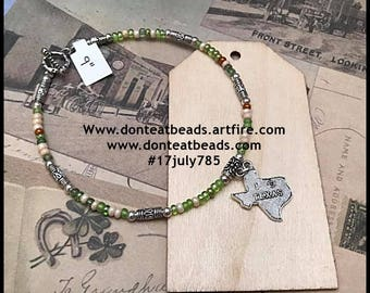 "9"" handmade  bracelet / anklet #17july786"