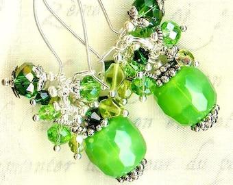Earrings green Crystal Green apples ❀ OR604 ❀ ❀