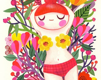 Summer Thoughts... - limited edition giclee print of an original watercolor illustration (8 x 10 in)