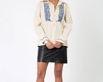 40% OFF The Vintage Beige Mexican Cotton Tunic Cover Up Blouse
