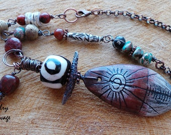 Tribal Necklace, Primitive Necklace, Rustic, Ceramic, Ancient Patterns, Circle Patterns, Black, White, Rust, Teal, Gemstones, Copper