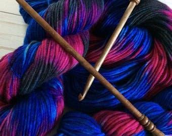 "200 Yards, Hand Painted Heavy Worsted/ Aran Weight Yarn, Knitting Yarn, Crochet Yarn, Singles, ""Fantastic Beasts"" Superwash Merino Single"