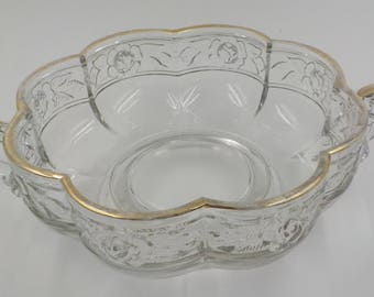 Two Handled Small Serving Bowl- Vegie Bowl- Pressed Glass - Gold Gilded Accents - Vintage - 1950 Era