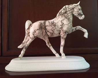 Horse Hair Pottery Tennessee Walker horse, w/oval base,  & engraved name plate-hand painted to look like your horse Pet Memorial