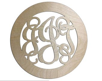 Unfinished Wood Circle Frame Three Letter Vine Monogram in 4 inch diameter ornament