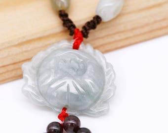 Jadeite Lotus unisex necklace