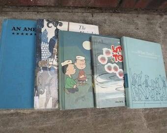FIVE Vintage Children's Books Blue Green Teal 1960s  10 dollar SALE!!!