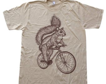 SUMMER SALE Squirrel on a Bicycle - Mens T Shirt, Unisex Tee, Cotton Tee, Handmade graphic tee, Bicycle shirt, Bike Tee, sizes xs-xxl