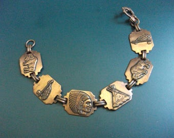 Vintage Copper Native American Southwestern Theme Relief Panel Bracelet