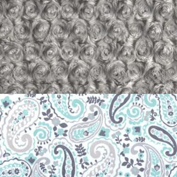 Adult Minky Blanket, Mint Paisley Gray Throw Twin Blanket, Soft Blanket, Gray Paisley Blanket, Gift for Her, Kids Minky Blanket