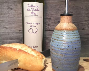 Ceramic Olive Oil bottle-  ridged surface in weathered blue  with food grade spout  -  Ready to Ship