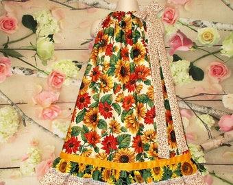 FREE SHIP - Girls Dress 6/7 Sunflower Floral Orange, Yellow, Gold Pillowcase Dress, Pillow Case Dress, Sundress, Boutique Dress