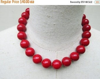 """XMAS in JULY SALE Cherry Red Scarlet Chunky Beaded Necklace , """"Mi Corazon"""""""