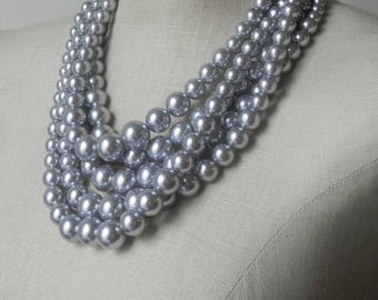XMAS in JULY SALE Grey Pearl Multi Strand necklace