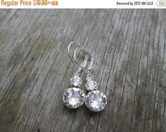 XMAS in JULY SALE Swarovski Silver Clear Crystal Double Stone Drop Earrings, Rhinestone